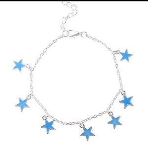 Luminous Blue Pentagon Star Anklet.